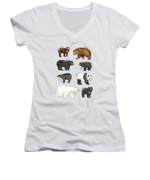 Bears Women's V-Neck T-Shirt (Junior Cut) by Amy Hamilton