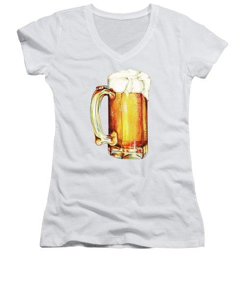 Beer Pattern Women's V-Neck T-Shirt (Junior Cut) by Kelly Gilleran