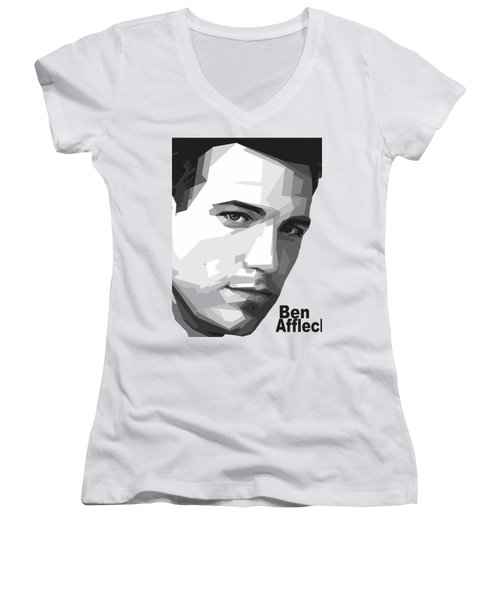Ben Affleck Portrait Art Women's V-Neck T-Shirt (Junior Cut) by Madiaz Roby