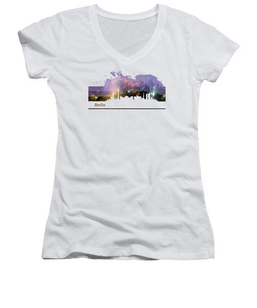 Berlin 2 Women's V-Neck T-Shirt (Junior Cut) by Alberto RuiZ