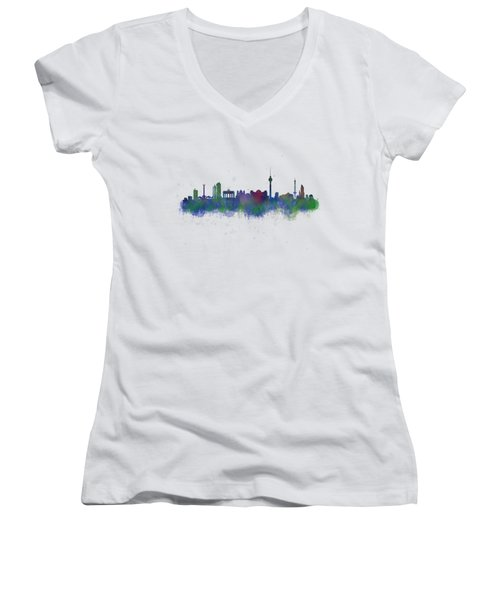 Berlin City Skyline Hq 2 Women's V-Neck T-Shirt (Junior Cut) by HQ Photo