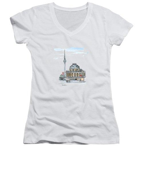 Berlin Fernsehturm Women's V-Neck T-Shirt (Junior Cut) by Petra Stephens
