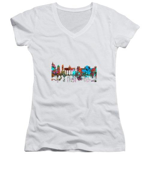 Berlin Germany Skyline  Women's V-Neck T-Shirt (Junior Cut) by Marlene Watson