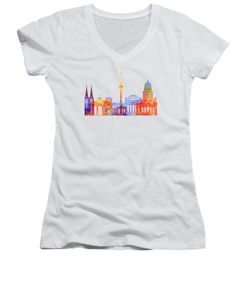 Berlin Landmarks Watercolor Poster Women's V-Neck T-Shirt (Junior Cut) by Pablo Romero