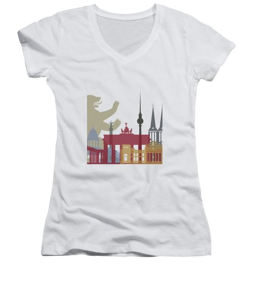 Berlin Skyline Poster Women's V-Neck T-Shirt (Junior Cut) by Pablo Romero