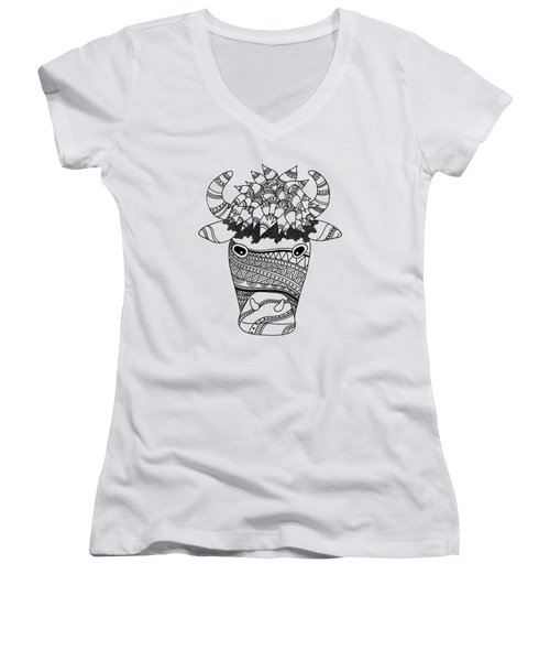 Bison Women's V-Neck T-Shirt (Junior Cut) by Sarah Rosedahl