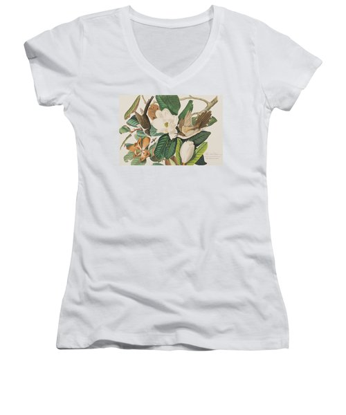 Black Billed Cuckoo Women's V-Neck T-Shirt (Junior Cut) by John James Audubon