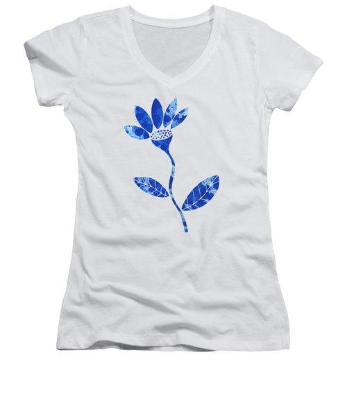 Blue Flower Women's V-Neck T-Shirt (Junior Cut) by Frank Tschakert