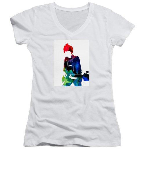 Bob Watercolor Women's V-Neck T-Shirt (Junior Cut) by Naxart Studio