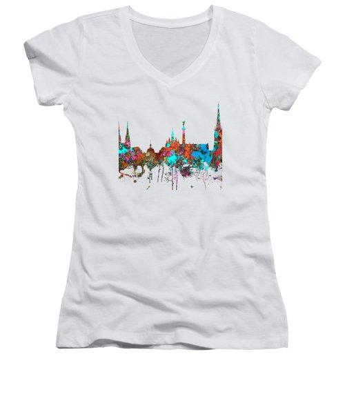 Bordeaux France  Skyline  Women's V-Neck T-Shirt (Junior Cut) by Marlene Watson