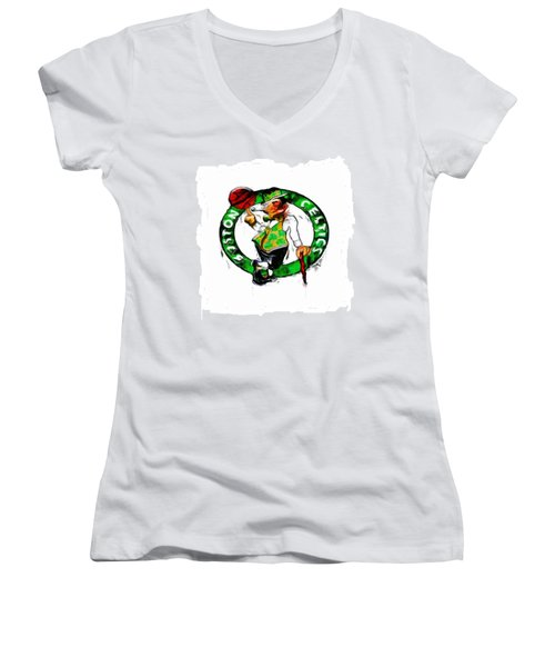 Boston Celtics 2b Women's V-Neck T-Shirt (Junior Cut) by Brian Reaves