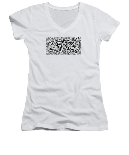 Boston Subway Or T Stops Word Cloud Women's V-Neck T-Shirt (Junior Cut) by Edward Fielding