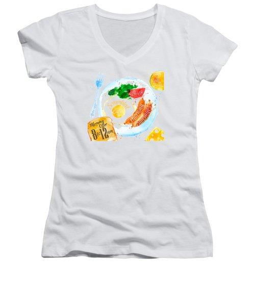 Breakfast 04 Women's V-Neck T-Shirt (Junior Cut) by Aloke Design