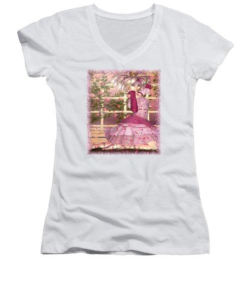 Breath Of Rose Fantasy Elf Women's V-Neck T-Shirt (Junior Cut) by Sharon and Renee Lozen