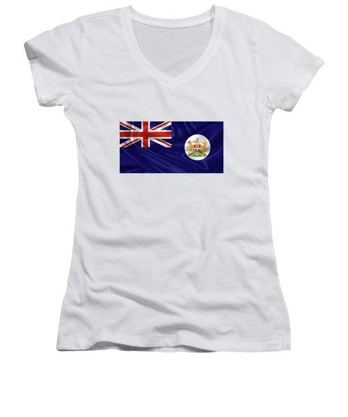 British Hong Kong Flag Women's V-Neck T-Shirt (Junior Cut) by Serge Averbukh