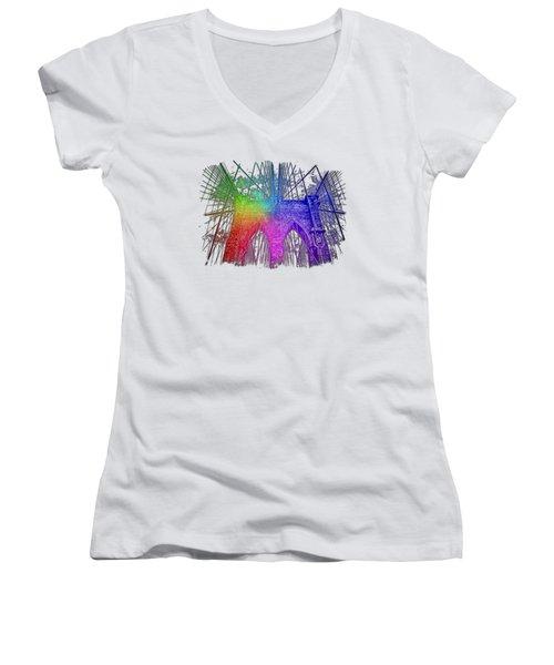 Brooklyn Bridge Cool Rainbow 3 Dimensional Women's V-Neck T-Shirt (Junior Cut) by Di Designs