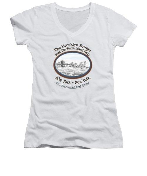 Brooklyn Bridge Women's V-Neck T-Shirt (Junior Cut) by James Lewis Hamilton