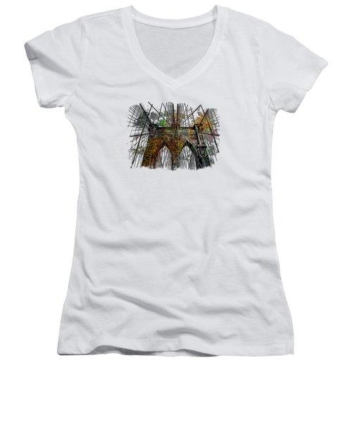 Brooklyn Bridge Muted Rainbow 3 Dimensional Women's V-Neck T-Shirt (Junior Cut) by Di Designs