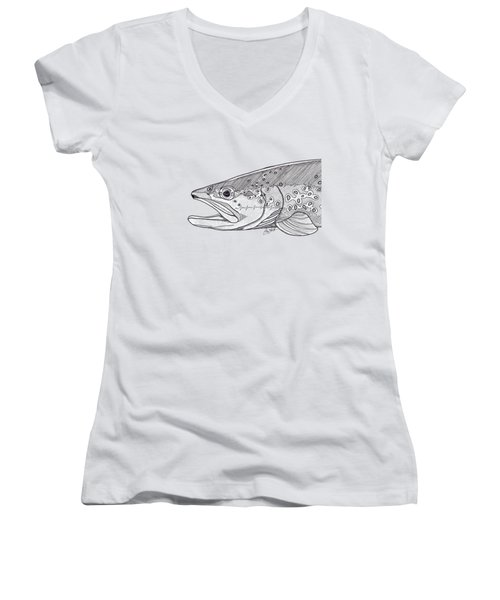 Brown Trout Women's V-Neck T-Shirt (Junior Cut) by Jay Talbot
