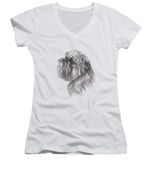 Brussels Griffon Dog Portrait  Drawing Women's V-Neck T-Shirt (Junior Cut) by I Am Lalanny