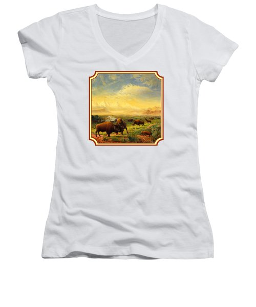 Buffalo Fox Great Plains Western Landscape Oil Painting - Bison - Americana - Square Format Women's V-Neck T-Shirt (Junior Cut) by Walt Curlee