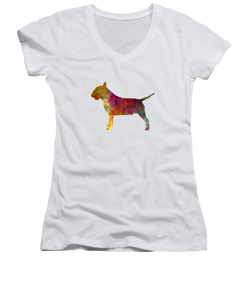 Bull Terrier In Watercolor Women's V-Neck T-Shirt (Junior Cut) by Pablo Romero