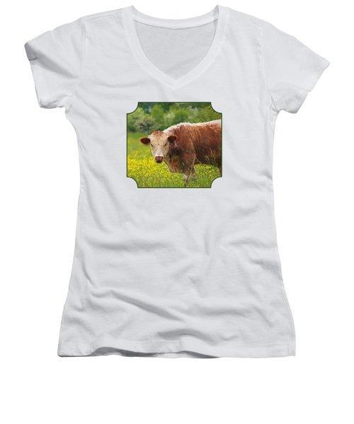 Buttercup - Brown Cow Women's V-Neck T-Shirt (Junior Cut) by Gill Billington