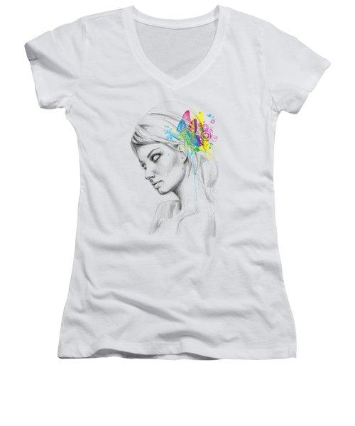 Butterfly Queen Women's V-Neck T-Shirt (Junior Cut) by Olga Shvartsur