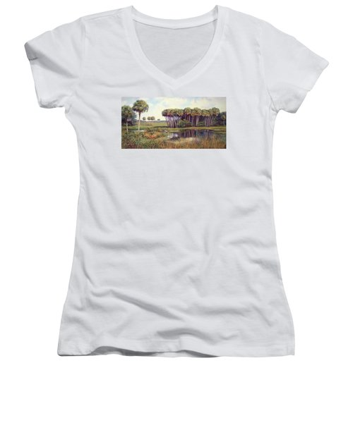 Cabbage Palm Hammock Women's V-Neck T-Shirt (Junior Cut) by Laurie Hein