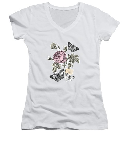 Cabbage Rose Women's V-Neck T-Shirt (Junior Cut) by Stephanie Davies