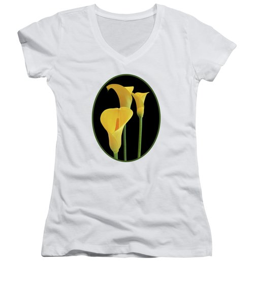 Calla Lilies - Yellow On Black Women's V-Neck T-Shirt (Junior Cut) by Gill Billington