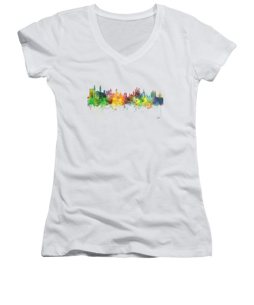 Cambridge England Skyline Women's V-Neck T-Shirt (Junior Cut) by Marlene Watson