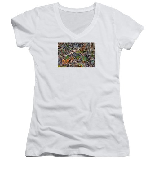 Camouflaged Plumage With Fallen Leaves Women's V-Neck T-Shirt (Junior Cut) by Asbed Iskedjian