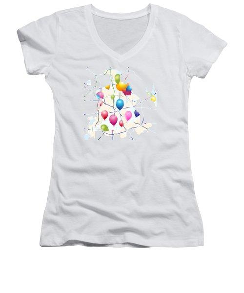 Celebrate ? Women's V-Neck T-Shirt (Junior Cut) by Jacquie King
