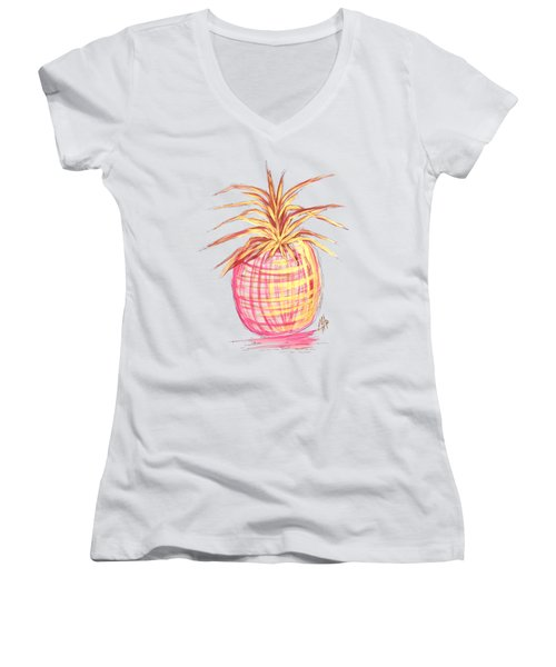 Chic Pink Metallic Gold Pineapple Fruit Wall Art Aroon Melane 2015 Collection By Madart Women's V-Neck T-Shirt (Junior Cut) by Megan Duncanson