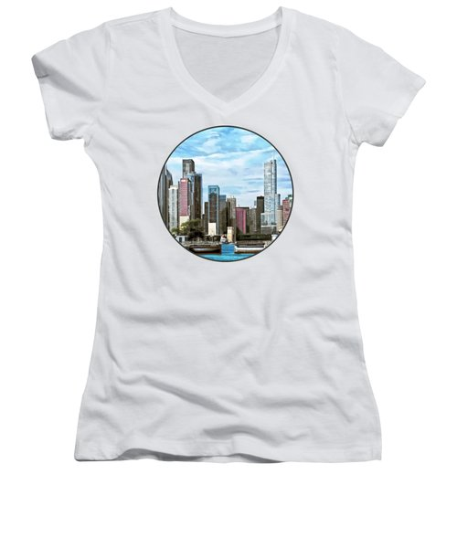 Chicago Il - Chicago Harbor Lock Women's V-Neck T-Shirt (Junior Cut) by Susan Savad