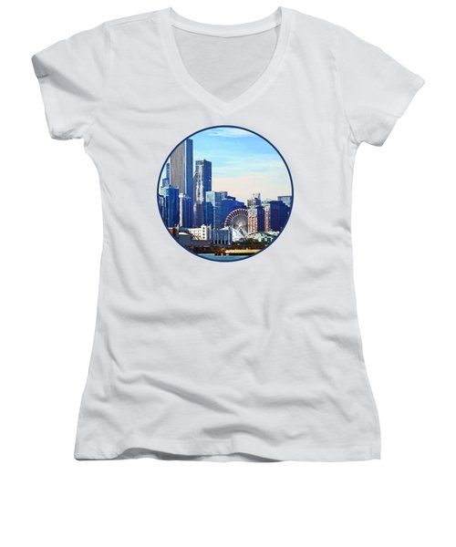 Chicago Il - Chicago Skyline And Navy Pier Women's V-Neck T-Shirt (Junior Cut) by Susan Savad