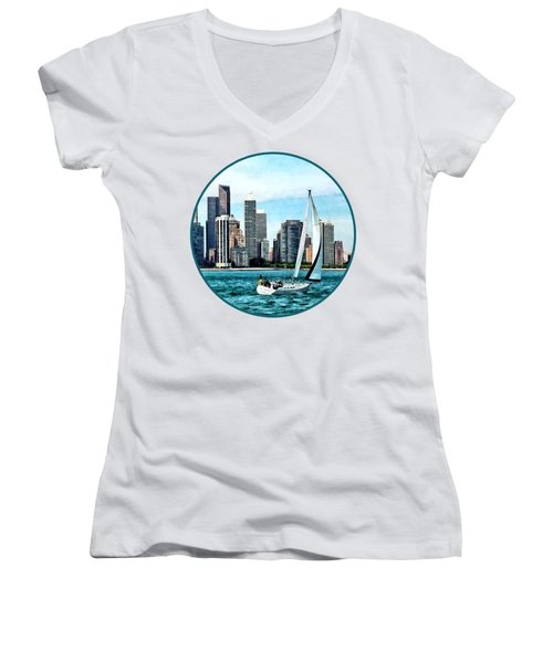 Chicago Il - Sailboat Against Chicago Skyline Women's V-Neck T-Shirt (Junior Cut) by Susan Savad