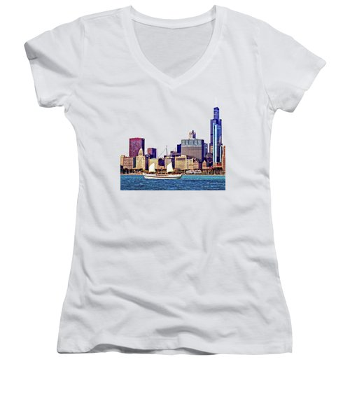 Chicago Il - Schooner Against Chicago Skyline Women's V-Neck T-Shirt (Junior Cut) by Susan Savad