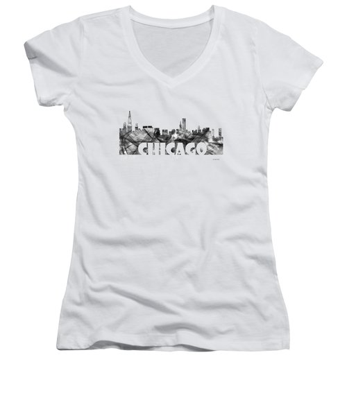 Chicago Illinios Skyline Women's V-Neck T-Shirt (Junior Cut) by Marlene Watson