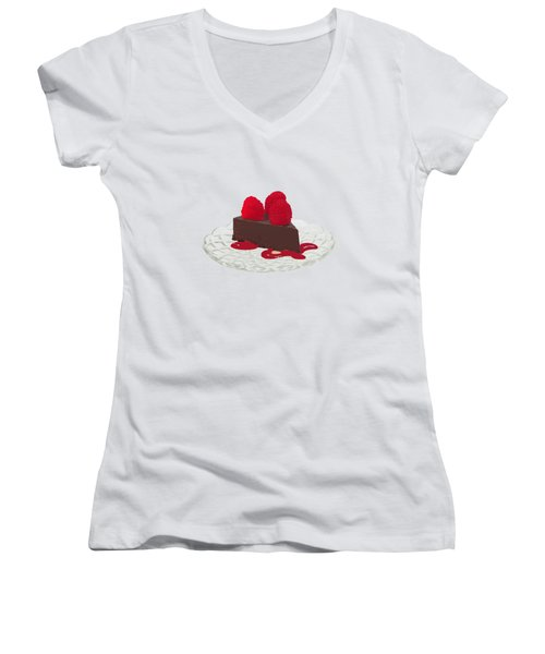 Chocolate Cake Women's V-Neck T-Shirt (Junior Cut) by Priscilla Wolfe