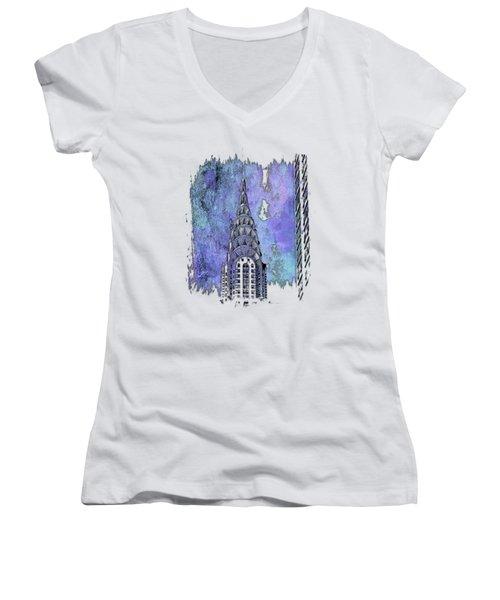 Chrysler Spire Berry Blues 3 Dimensional Women's V-Neck T-Shirt (Junior Cut) by Di Designs