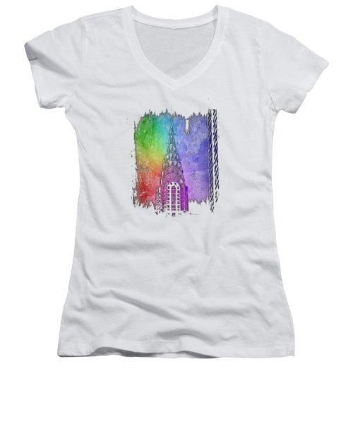 Chrysler Spire Cool Rainbow 3 Dimensional Women's V-Neck T-Shirt (Junior Cut) by Di Designs
