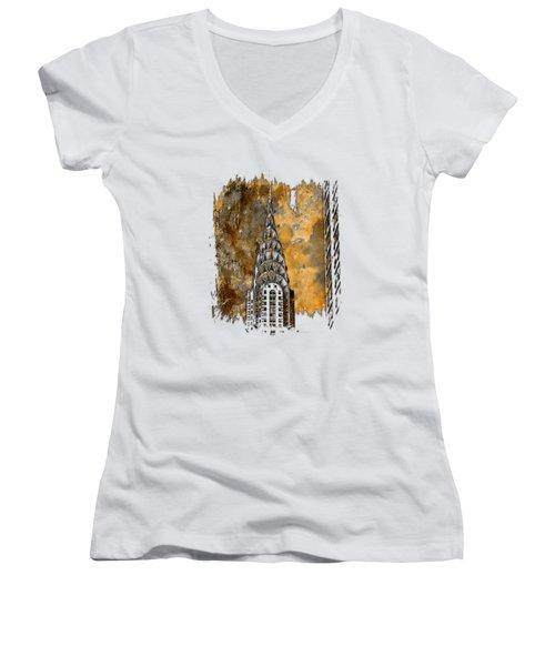 Chrysler Spire Earthy 3 Dimensional Women's V-Neck T-Shirt (Junior Cut) by Di Designs
