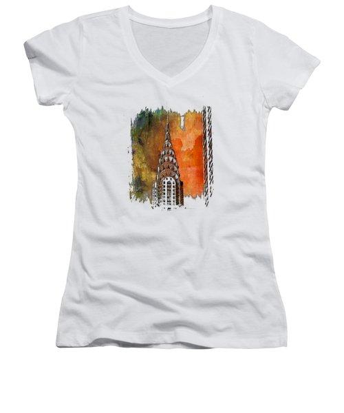 Chrysler Spire Earthy Rainbow 3 Dimensional Women's V-Neck T-Shirt (Junior Cut) by Di Designs