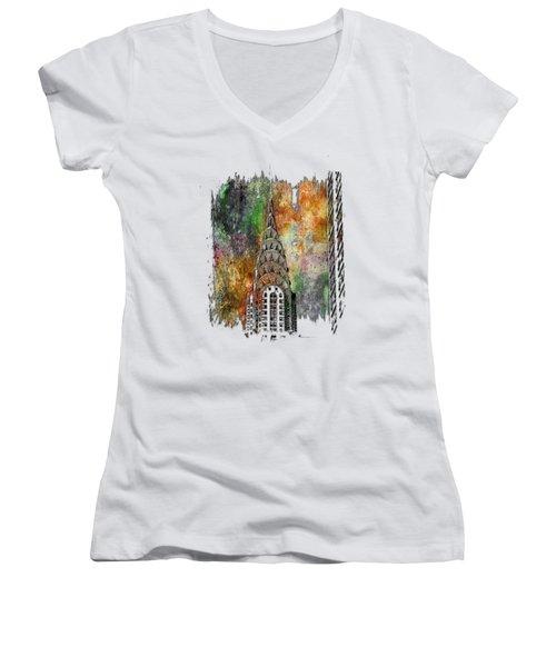 Chrysler Spire Muted Rainbow 3 Dimensional Women's V-Neck T-Shirt (Junior Cut) by Di Designs