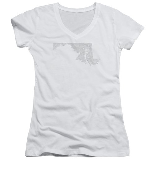 Cities And Towns In Maryland Black Women's V-Neck T-Shirt (Junior Cut) by Custom Home Fashions