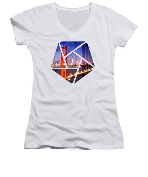 City Art Golden Gate Bridge Composing Women's V-Neck T-Shirt (Junior Cut) by Melanie Viola