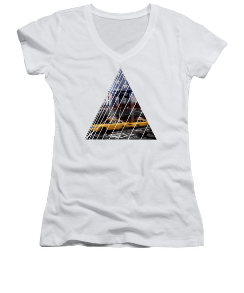 City-art Nyc Composing Women's V-Neck T-Shirt (Junior Cut) by Melanie Viola