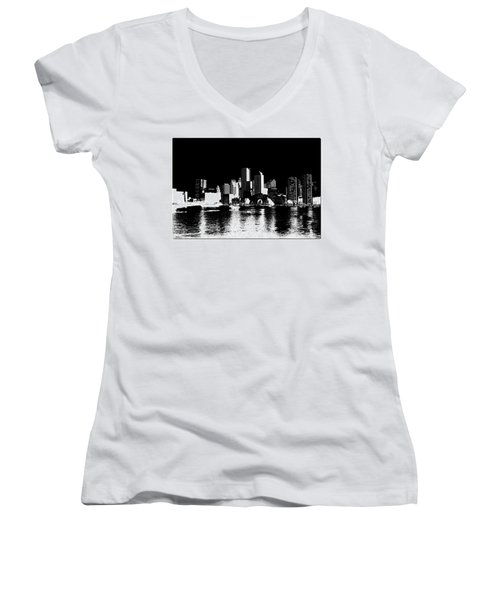 City Of Boston Skyline   Women's V-Neck T-Shirt (Junior Cut) by Enki Art